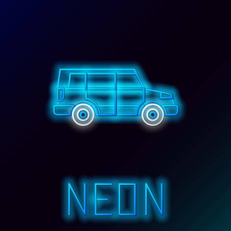 Blue glowing neon line Off road car icon isolated on black background. Colorful outline concept. Vector Illustration Stok Fotoğraf - 133445260