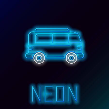 Blue glowing neon line Retro minivan icon isolated on black background. Old retro classic traveling van. Colorful outline concept. Vector Illustration