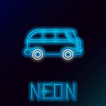 Blue glowing neon line Retro minivan icon isolated on black background. Old retro classic traveling van. Colorful outline concept. Vector Illustration Stock Vector - 133445277