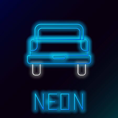 Blue glowing neon line Pickup truck icon isolated on black background. Colorful outline concept. Vector Illustration Stock Vector - 133445278