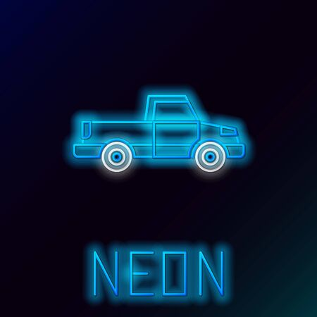 Blue glowing neon line Pickup truck icon isolated on black background. Colorful outline concept. Vector Illustration Stok Fotoğraf - 133445282