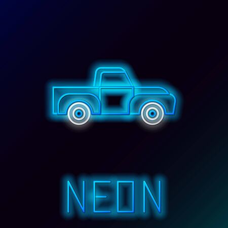 Blue glowing neon line Pickup truck icon isolated on black background. Colorful outline concept. Vector Illustration Çizim