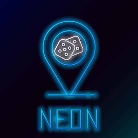 Blue glowing neon line Casino location icon isolated on black background. Game dice icon. Colorful outline concept. Vector Illustration