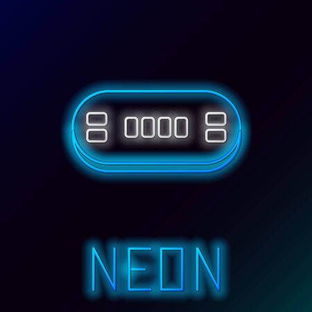 Blue glowing neon line Poker table icon isolated on black background. Colorful outline concept. Vector Illustration
