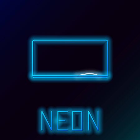 Blue glowing neon line Chalkboard icon isolated on black background. School Blackboard sign. Colorful outline concept. Vector Illustration Ilustrace