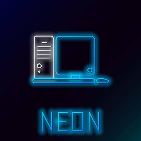 Blue glowing neon line Computer monitor with keyboard and mouse icon isolated on black background. PC component sign. Colorful outline concept. Vector Illustration