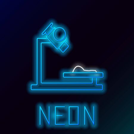 Blue glowing neon line Microscope icon isolated on black background. Chemistry, pharmaceutical instrument, microbiology magnifying tool. Colorful outline concept. Vector Illustration