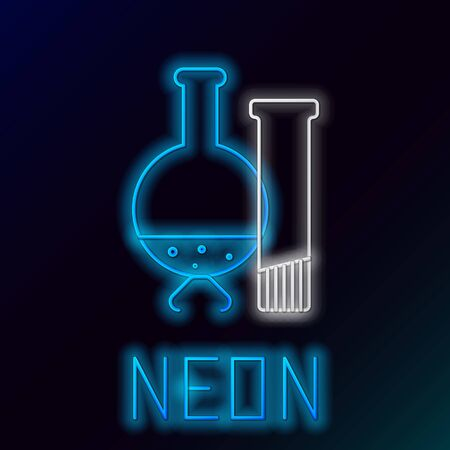Blue glowing neon line Test tube and flask - chemical laboratory test icon isolated on black background. Laboratory glassware sign. Colorful outline concept. Vector Illustration 일러스트