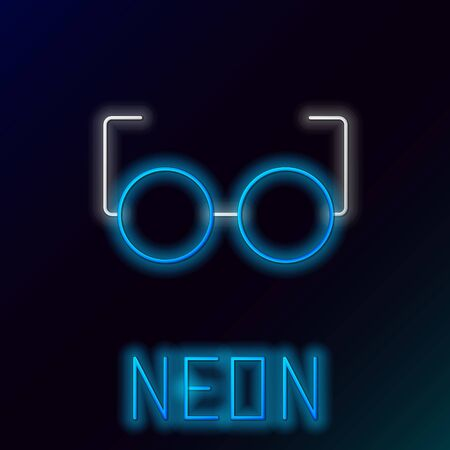 Blue glowing neon line Glasses icon isolated on black background. Eyeglass frame symbol. Colorful outline concept. Vector Illustration Çizim