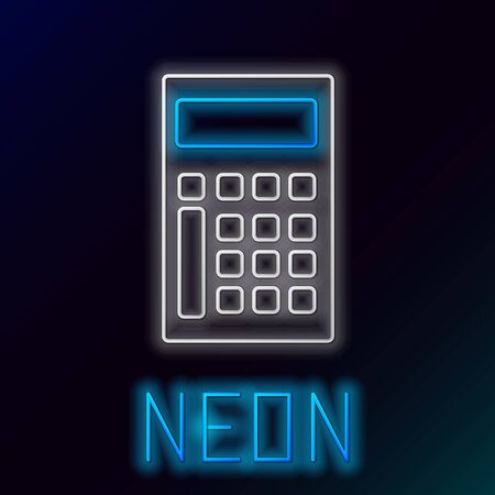 Blue glowing neon line Calculator icon isolated on black background. Accounting symbol. Business calculations mathematics education and finance. Colorful outline concept. Vector Illustration Çizim