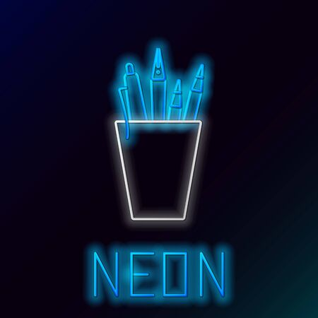 Blue glowing neon line Pencil case stationery icon isolated on black background. Pencil, pen, ruler in a glass for office. Colorful outline concept. Vector Illustration