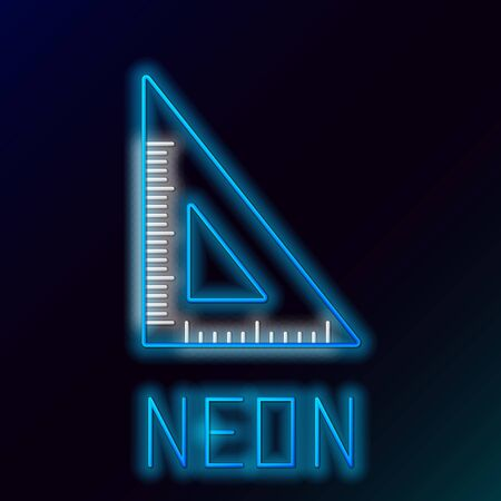 Blue glowing neon line Triangular ruler icon isolated on black background. Straightedge symbol. Geometric symbol. Colorful outline concept. Vector Illustration Çizim