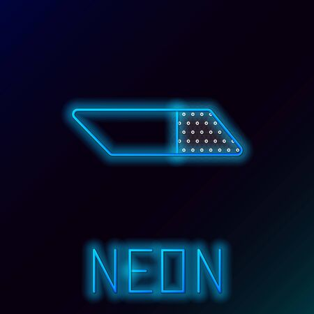 Blue glowing neon line Eraser or rubber icon isolated on black background. Colorful outline concept. Vector Illustration