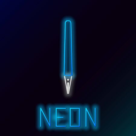 Blue glowing neon line Pen icon isolated on black background. Colorful outline concept. Vector Illustration Stockfoto - 133453670