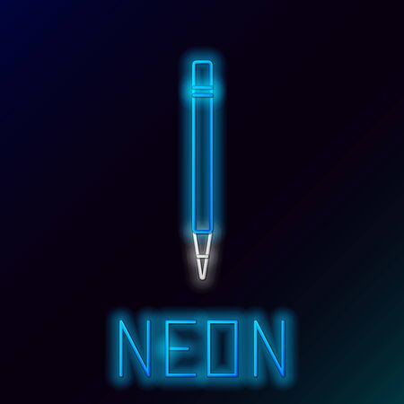 Blue glowing neon line Pencil with eraser and line icon isolated on black background. Drawing and educational tools. School office symbol. Colorful outline concept. Vector Illustration Çizim
