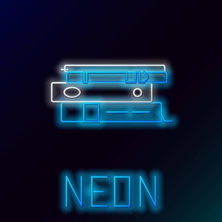 Blue glowing neon line Office folders with papers and documents icon isolated on black background. Office binders. Archives folder sign. Colorful outline concept. Vector Illustration Çizim