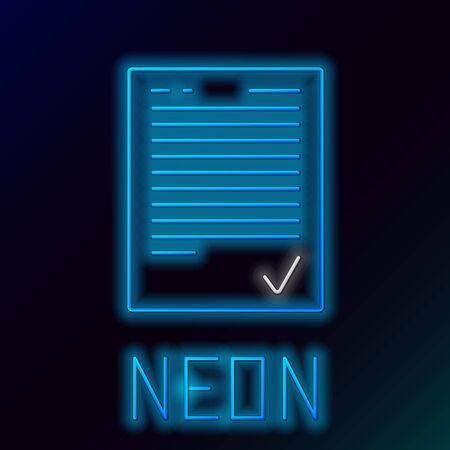Blue glowing neon line Exam sheet with check mark icon isolated on black background. Test paper, exam, or survey concept. School test or exam. Colorful outline concept. Vector Illustration