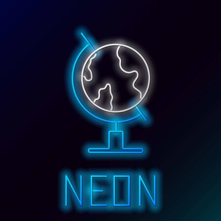Blue glowing neon line Earth globe icon isolated on black background. Colorful outline concept. Vector Illustration
