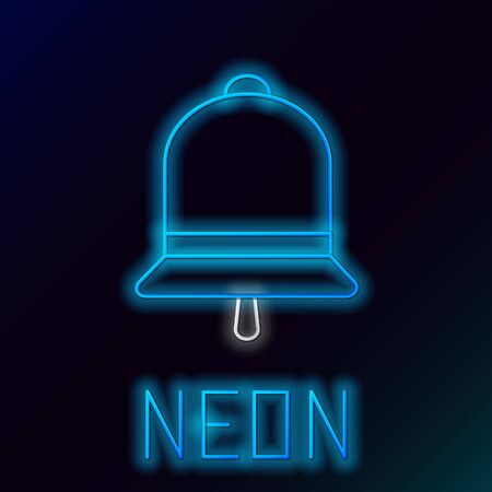 Blue glowing neon line Ringing bell icon isolated on black background. Alarm symbol, service bell, hand bell sign, notification symbol. Colorful outline concept. Vector Illustration 일러스트