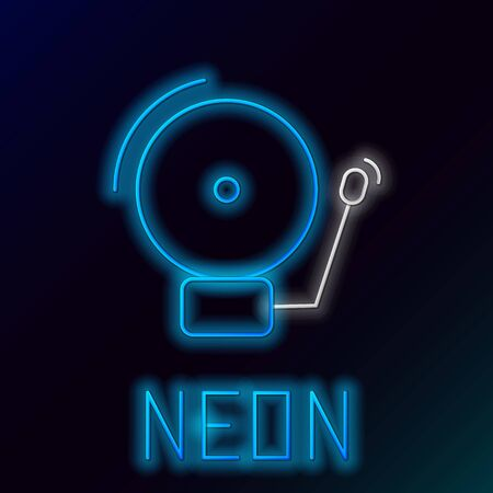 Blue glowing neon line Ringing alarm bell icon isolated on black background. Alarm symbol, service bell, hand bell sign, notification symbol. Colorful outline concept. Vector Illustration