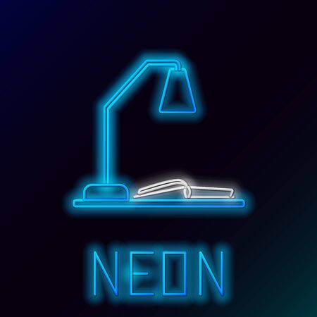 Blue glowing neon line Workplace with table lamp and open book icon isolated on black background. Table office lamp. Colorful outline concept. Vector Illustration