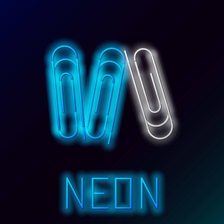 Blue glowing neon line Paper clip icon isolated on black background. Colorful outline concept. Vector Illustration Çizim