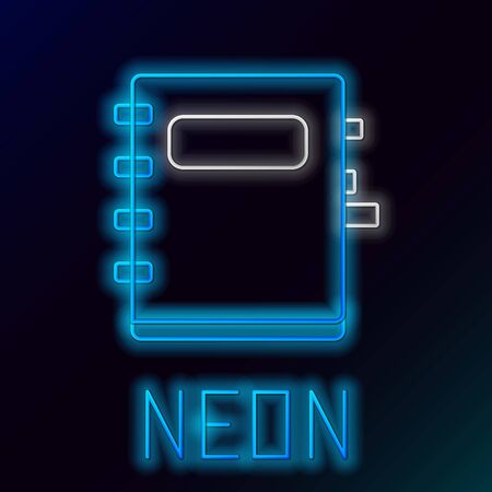 Blue glowing neon line Notebook icon isolated on black background. Spiral notepad icon. School notebook. Writing pad. Diary for school. Colorful outline concept. Vector Illustration