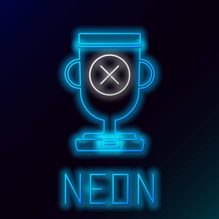 Blue glowing neon line Award cup icon isolated on black background. Winner trophy symbol. Championship or competition trophy. Sports achievement sign. Colorful outline concept. Vector Illustration Çizim