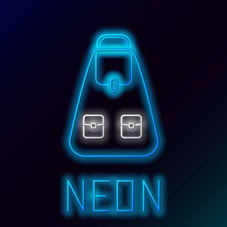 Blue glowing neon line School backpack icon isolated on black background. Colorful outline concept. Vector Illustration Çizim