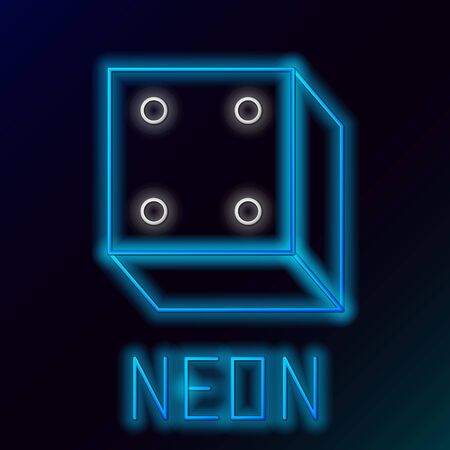 Blue glowing neon line Game dice icon isolated on black background. Casino gambling. Colorful outline concept. Vector Illustration