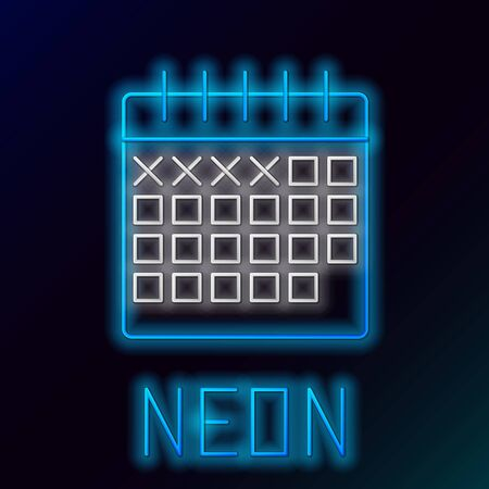 Blue glowing neon line Calendar icon isolated on black background. Colorful outline concept. Vector Illustration