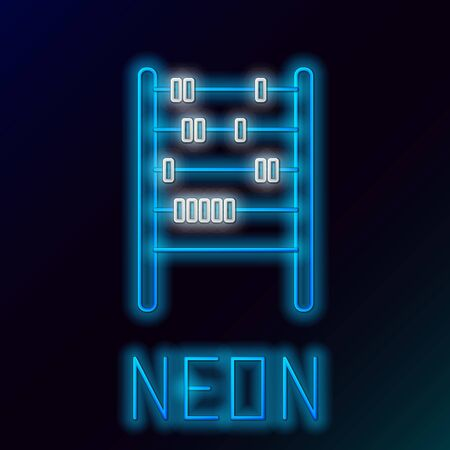 Blue glowing neon line Abacus icon isolated on black background. Traditional counting frame. Education sign. Mathematics school. Colorful outline concept. Vector Illustration