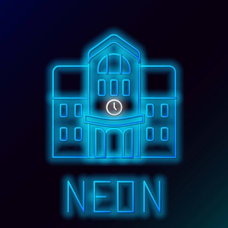 Blue glowing neon line School building icon isolated on black background. Colorful outline concept. Vector Illustration Çizim
