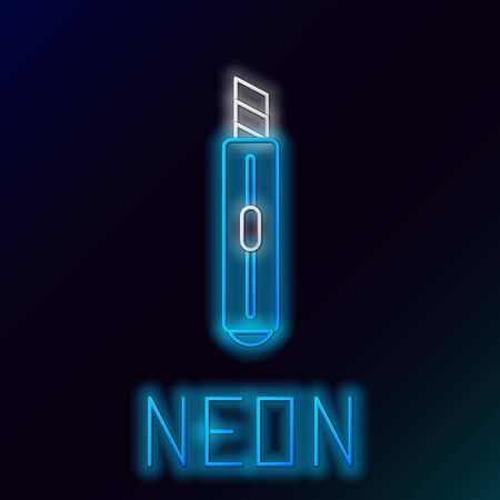 Blue glowing neon line Stationery knife icon isolated on black background. Office paper cutter. Colorful outline concept. Vector Illustration