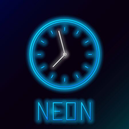 Blue glowing neon line Clock icon isolated on black background. Time symbol. Colorful outline concept. Vector Illustration