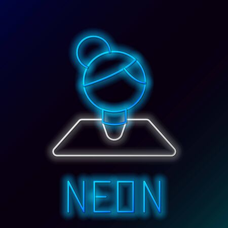 Blue glowing neon line Teacher icon isolated on black background. Colorful outline concept. Vector Illustration