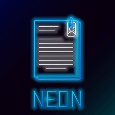 Blue glowing neon line File document and paper clip icon isolated on black background. Checklist icon. Business concept. Colorful outline concept. Vector Illustration