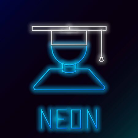 Blue glowing neon line Graduate and graduation cap icon isolated on black background. Colorful outline concept. Vector Illustration
