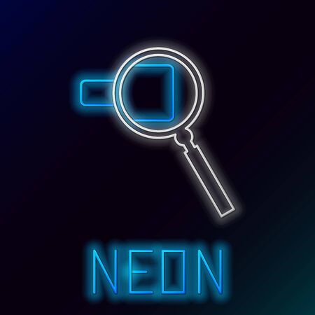 Blue glowing neon line Magnifying glass icon isolated on black background. Search, focus, zoom, business symbol. Colorful outline concept. Vector Illustration
