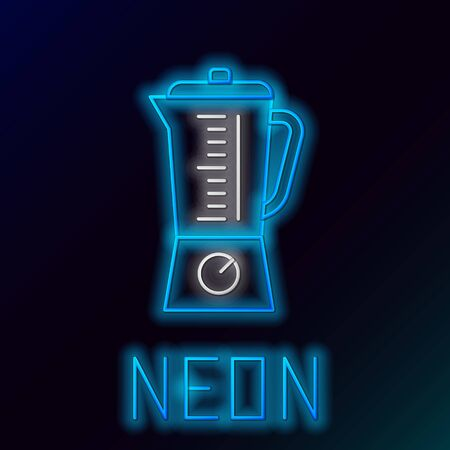Blue glowing neon line Blender icon isolated on black background. Kitchen electric stationary blender with bowl. Cooking smoothies, cocktail or juice. Colorful outline concept. Vector Illustration