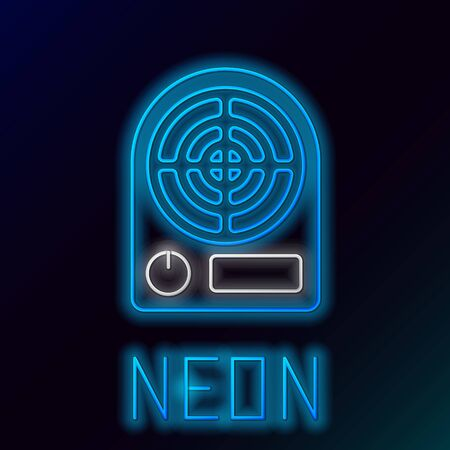 Blue glowing neon line Electric heater icon isolated on black background. Infrared floor heater with remote control. House climate control. Colorful outline concept. Vector Illustration
