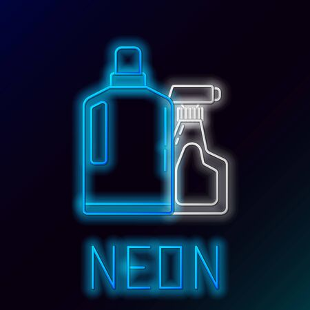 Blue glowing neon line Plastic bottles for liquid laundry detergent, bleach, dishwashing liquid or another cleaning agent icon on black background. Colorful outline concept. Vector Illustration