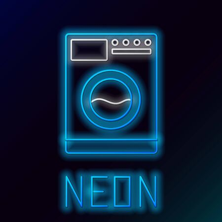 Blue glowing neon line Washer icon on black background. Washing machine icon. Clothes washer - laundry machine. Home appliance symbol. Colorful outline concept. Vector Illustration