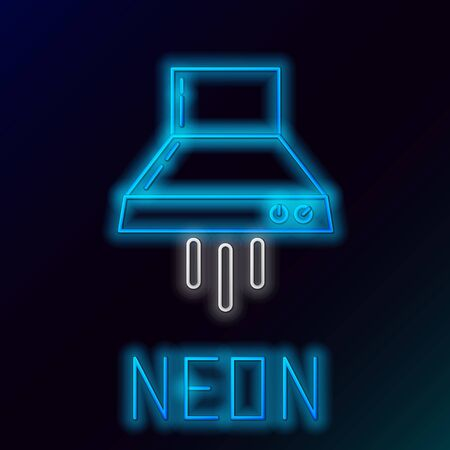 Blue glowing neon line Kitchen extractor fan icon isolated on black background. Cooker hood. Kitchen exhaust. Household appliance. Colorful outline concept. Vector Illustration Stok Fotoğraf - 133558755