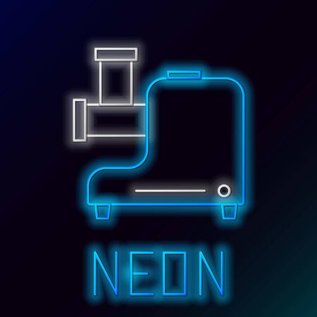 Blue glowing neon line Kitchen meat grinder icon isolated on black background. Colorful outline concept. Vector Illustration
