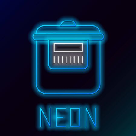 Blue glowing neon line Slow cooker icon isolated on black background. Electric pan. Colorful outline concept. Vector Illustration