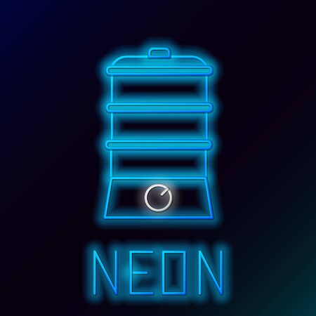 Blue glowing neon line Double boiler icon isolated on black background. Colorful outline concept. Vector Illustration