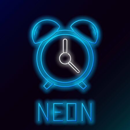 Blue glowing neon line Alarm clock icon isolated on black background. Wake up, get up concept. Time sign. Colorful outline concept. Vector Illustration