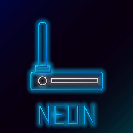 Blue glowing neon line Router and wifi signal symbol icon isolated on black background. Wireless modem router. Computer technology internet. Colorful outline concept. Vector Illustration