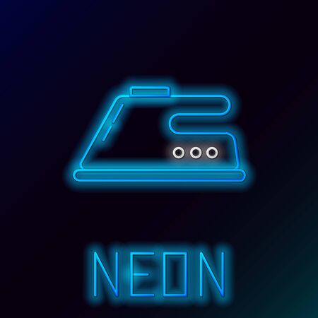 Blue glowing neon line Electric iron icon isolated on black background. Steam iron. Colorful outline concept. Vector Illustration